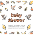 Baby shower template with autumn doodle vector image vector image