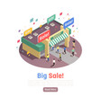 big sale isometric composition vector image