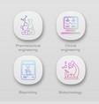 bioengineering app icons set pharmaceutical vector image vector image