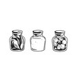 black and white potion jars with magic liquids and vector image vector image