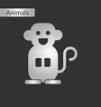 black and white style icon monkey vector image