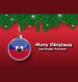 border of christmas tree branches and ball with vector image