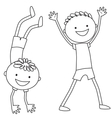 Boy standing on hands Boy keeping his hands up vector image
