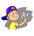 boy writing grade vector image vector image