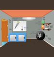bright cartoon interior of the garage vector image vector image