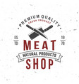 butcher meat shop badge or label with kitchen vector image vector image