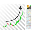 Candlestick chart growth trend flat icon with