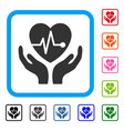cardiology care hands framed icon vector image vector image
