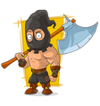 Cartoon masked executioner with big vector image