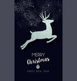 christmas and new year silver glitter deer card vector image vector image