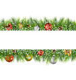 christmas with pine cone ball and fir in snow vector image vector image