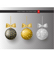 collection realistic beautiful shiny christmas vector image