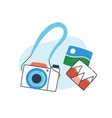 concept phototour analog camera with snapshots vector image vector image