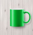Cup on wooden backdrop vector image vector image
