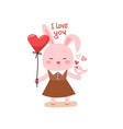 cute cartoon lovely rabbit with pink large heart vector image vector image