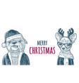 dog santa claus in hat coat happy new year vector image