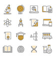 education flat line icon set vector image vector image