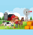 farmer at the farmland vector image