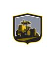 Farmer Driving Vintage Farm Tractor Plowing Retro vector image vector image