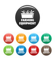 farming equipment icons set color vector image