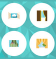 flat icon frame set of glass curtain glass frame vector image vector image