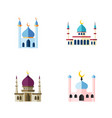flat icon mosque set of structure traditional vector image vector image