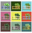 flat icons set fenced tree vector image