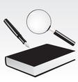 Fountain pen book and magnifying glass vector | Price: 1 Credit (USD $1)