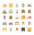furniture flat icons set vector image