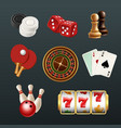 game realistic icons poker dice bowling gambling vector image