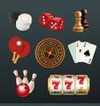 game realistic icons poker dice bowling gambling vector image vector image