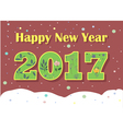 Happy New Year 2017 Green floral font vector image vector image