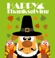 happy thanksgiving day backgroundwith dog pilgrim vector image