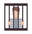 jail inmate behind bars icon vector image vector image