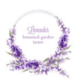 lavender wreath card watercolor flowers decor vector image vector image