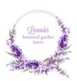 lavender wreath card watercolor flowers decor vector image