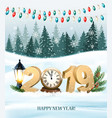 merry christmas background with 2019 and clock vector image vector image