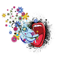 mouth with grunge and floral vector image vector image