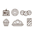 pastry chocolate and sweet desserts line icons vector image vector image