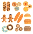 Pastry Collection In Cartoon Slyle vector image vector image