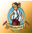 Pretty Bavarian girl label vector image vector image