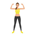 pretty young fit woman showing her biceps smiling vector image vector image