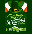 saint patrick day party leprechaun hat and beer vector image vector image