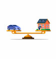 scale comparison decision buy car or house vector image vector image