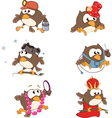 Set of cute owls for you design Cartoon vector image