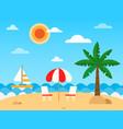 tropic beach landscape with beach waves umbrella vector image vector image