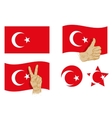 Turkey flag icons set vector image vector image
