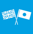 uk and japan flags crossed icon white vector image vector image
