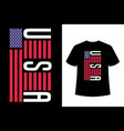 usa lettering in flag t shirt design vector image vector image