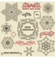 vintage holiday floral design elements vector image vector image